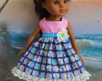 "14 and 14.5"" Doll Dress Pink Purple and Lime Owl Medley with Lace Accents"