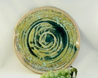Large Lichen Dish, Wall Hanging, Ceramic Art Vessel, Thanksgiving Decor, Fall Wedding Decor, Crystalline Glazes in Green, Gold and Copper