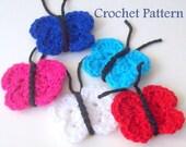 Crochet Butterfly PATTERN, Instant Download, PDF Crochet Pattern, Applique Pattern, Embellishment Pattern, Easy Crochet Pattern