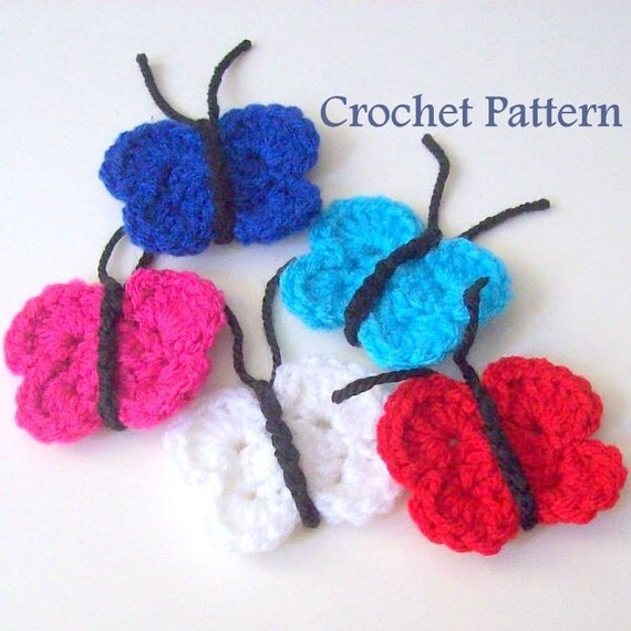 Free Download Crochet Butterfly Pattern : Crochet Butterfly Pattern Instant Download PDF by HCKCrafts