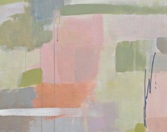 blush pink abstract painting, acrylic painting, modern art, pastel colors, soft color palette