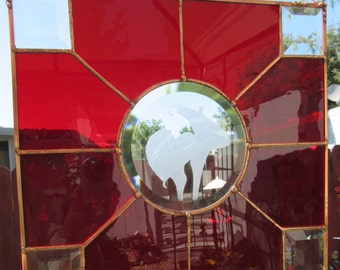 Calla Lilly, Etched in Beveled Circle, of Clear Red Stained Glass, Clear Beveleds in Corners, Panel Suncatcher