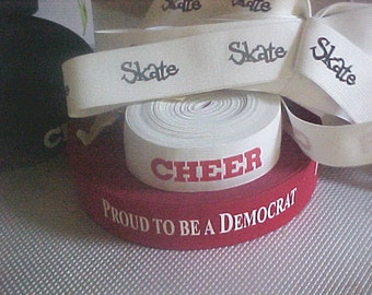 ELASTIC 1-1/2 inch ReD with White PROUD To Be a DEMOCRAT Printed Waistband Elastic Needs No Casing 5 yds. New