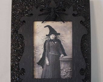 Halloween Witch Wall Art,  Whimsical Collage Art, Vintage Witch Decor