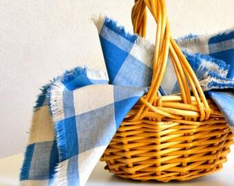 Table Linen Set / Blue & White Checked Linen Cotton Cloth Napkins Set of 6 / Large Size