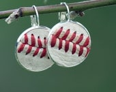 authentic baseball seam / stitch leather round dangle drop earrings genuine leather baseball - baseball mom - silver, bronze or copper