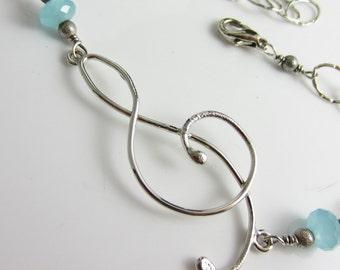 Treble and Chalcedony Bracelet