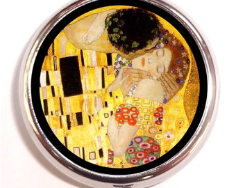 Klimt Kiss Pill Box case Pillbox Gustav Klimt The Kiss Fine Art Austrian Symbolist Painter Painting Vienna Classic Artwork