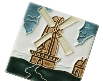 Dutch Windmill - Handmade Ceramic Tile - hand-painted decorative accent for your kitchen, fireplace, bath - home decor or remodel