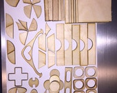 Laser Cut Odds & Ends 50+ Pieces of hard wood shapes