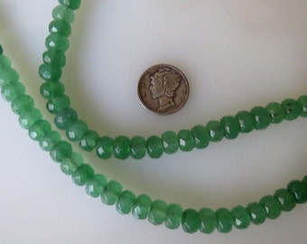 Green Jade Faceted Rondelle Beads 4x6mm Half Strand