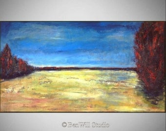"54"" Large Abstract Landscape Oil Painting --- GOLDEN FIELDS Textured 54x30 ORIGINAL Contemporary Fine Art by BenWill"