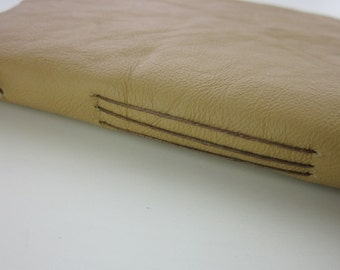 Small Cream Handstitched Leather Notebook