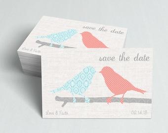 Save the Date Cards  Wedding Invitation  Wedding Card  Modern Wedding  Love Birds Save the Date  SD5