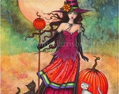 October Moon -  Fantasy Art Original Witch Cat Halloween Archival Giclee Print 9 x 12