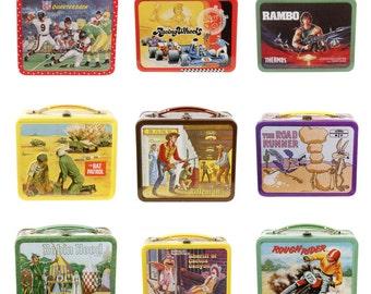 Retro Lunchbox Magnet - Football, Rambo, Racing, Rat Patrol, Robin Hood, Road Runner, Motorcycle Rough Rider