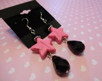 Star Hot Pink and Black Crystal Howlite Beaded Dangle Earrings
