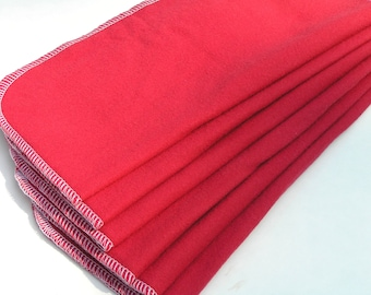 Set of 6 Reusable Flannel 2-ply 11 x12  Wipes Unpaper Towels (Red) by tamarack