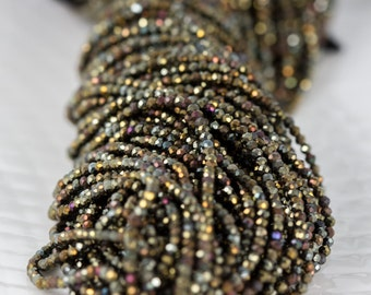 Olive Green Pyrite Beads, Micro Rondelle Gemstone Strand, Full 13 inch Strand- 2mm, Coated Green Gemstone Beads- Item 291
