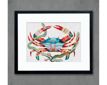 Crab Print on Paper Coastal Decor for Beachhouse