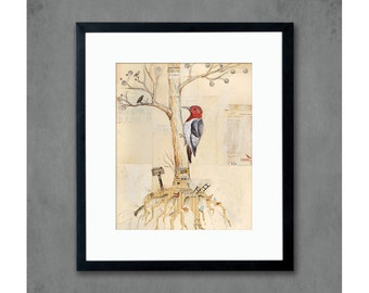 Backyard Woodpecker in Tree Print Modern Cottage Decor