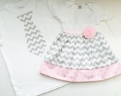 Boutique SIBLING SET..Brother sister outfits ..one piece DRESS and tie T- shirt in grey chevron