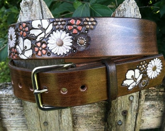 Womens Belt - Flower - Leather Belt - Brown Leather with Flowers