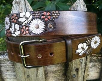 Flower Belt Bison Brown with  White Flowers