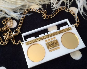White and Gold Boom Box Acrylic Necklace