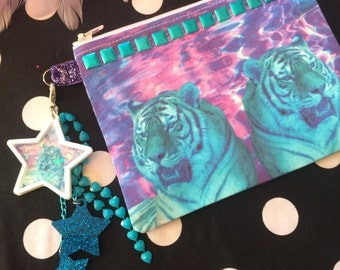 Neon Tigers and Studded Wristlet Pouch with Zipper