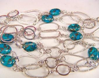 "Blue Bronze Turquoise 43"" Long Chain/ Argentium Silver"