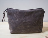 WAXED CANVAS - Unisex  Dark Oak Zippered Pouch, Clutch, Gadget Bag, Toiletry Bag, Cosmetic Bag - Padded and weather resistant