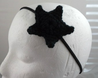 Crocheted Small Star Headband - Black (SWG-HH-STSM01)