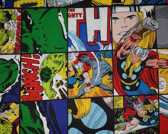 SALE Marvel AVENGERS Square Patch Comic Tossed Cotton Fabric 1 Yard BTY