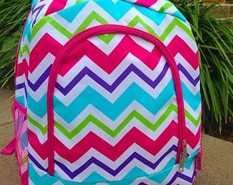 SALE Multi Pink Chevron Backpack Monogrammed Name or Initials of Your Choice