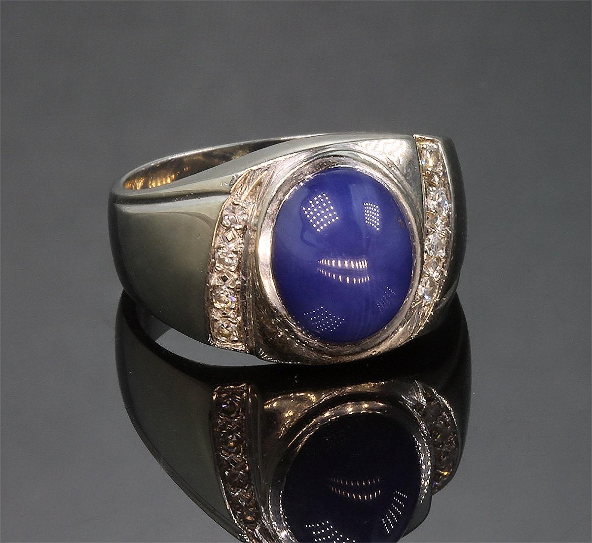 Vintage Men S 14k Gold Star Sapphire And Diamond Ring