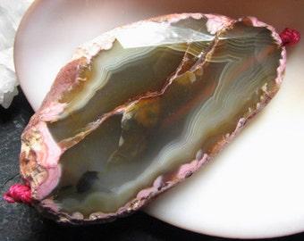 Pink and Tan Focal Pendant Bead