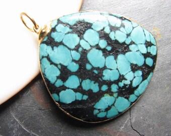 Southwest Turquoise Pendant, 24k Gold Dipped