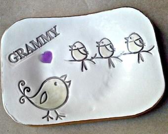 Grammy Trinket  Dish 3 Birdies