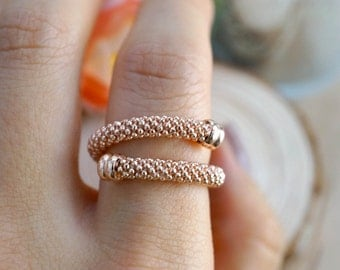 SALE. Dotted rose gold wrap ring. beaded twist ring. studded band. Snake ring. finger wrap. Adjustable ring size 6-10