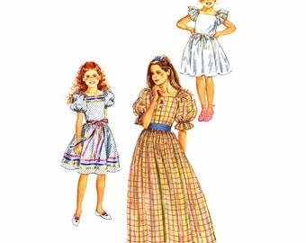 1980s Girls Ruffled Dress Vintage Sewing Pattern Simplicity 6041 Gathered Skirt Short Puff Sleeves Pullover Dress Size 10 UNCUT