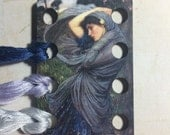 Boreas by Waterhouse embroidery floss holder wooden thread keep in  beautiful purple tones
