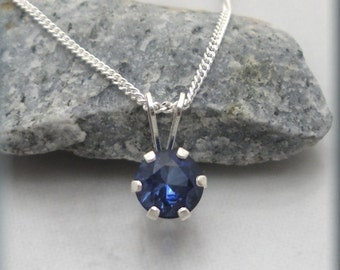 Tanzanite Necklace, Purple Necklace, Sterling Silver, Round Faceted Stone, Minimalist Jewelry, Graduation Gift, Friendship, Classic (SN877)