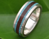 Lados Turquoise and Nacascolo Wood Ring - ecofriendly wood wedding band with turquoise inlay, turquoise wedding ring, mens wood ring