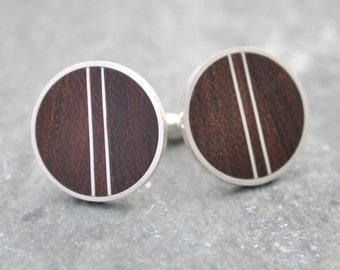 Pillars Cufflinks - recycled sterling silver and nacascolo wood cufflinks