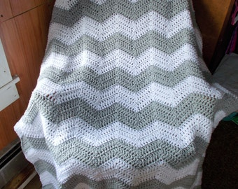 Crochet Ripple Afghan Blanket -Chevron-Ready to Ship-Large size/ Modern/Light Gray and White/Classic/Chasing Chevrons-Best Seller/Gift