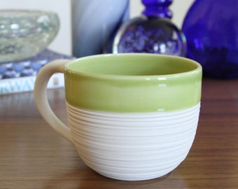 Pottery Mug Green, SALE Groove Mug in Olive Green, Pottery Second - Large Porcelain Mug