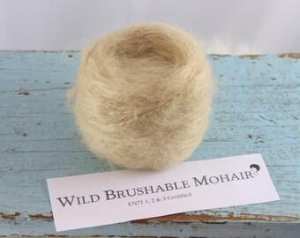 Waldorf doll Yarn Mohair/ Wool  Wild Mohair Straight ( Brushable)  50 grams Ash Blonde