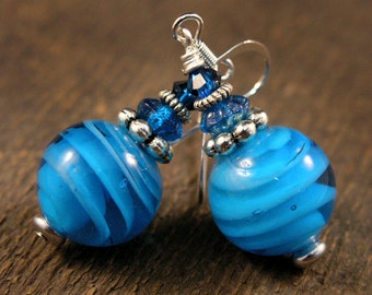 SALE Blue large glass beads, swarovski crystal and silver handmade earrings