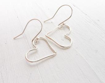 Wire Heart Earrings Sterling Silver Dangle Floating Hearts Earring Lightweight Earings